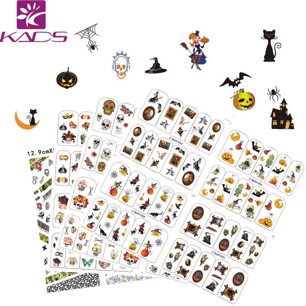 Kads 4pcs Pegatinas Al Agua De Arte De Uñas Sobre Halloween