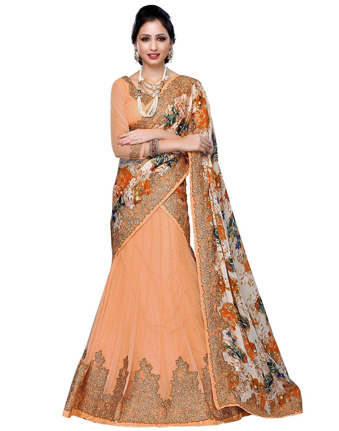 DesiButik's Wedding Wear Ravishing Peach Banglori Silk Lehenga