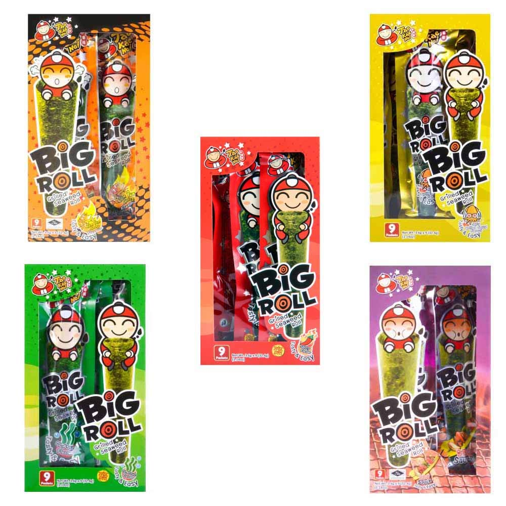 Big Roll Crispy Grilled Seaweed Variety Pack (Spicy, Classic, Tom Yum, BBQ, Squid) - 5 Boxes by Tao Kae Noi (Image #1)