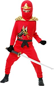 Charades Ninja Avenger Series II with Armor Child's Costume, Medium Red