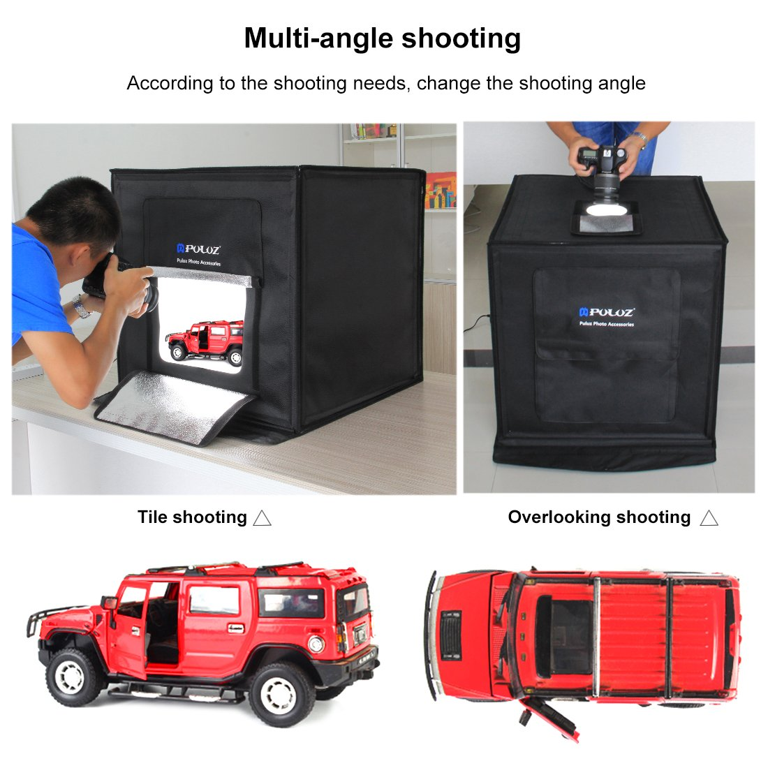 Portable Photo Studio with 3 Backdrops (Black/White/Orange), 16''x16'' Light Box for Jewelry,Toys,Baking,Small Items Photography, Shooting Tent Box Kit Brightness Adjustable by TSLEEN (Image #2)