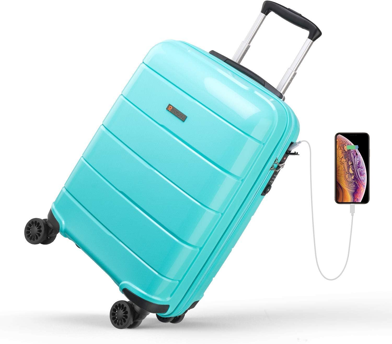 REYLEO Maleta Cabina Rígida 100% Polipropileno Equipaje de Mano con Puerto de Carga USB, Candado TSA, 4 Ruedas Silenciosas (57CM - 31.5L) (Azul Tiffany)