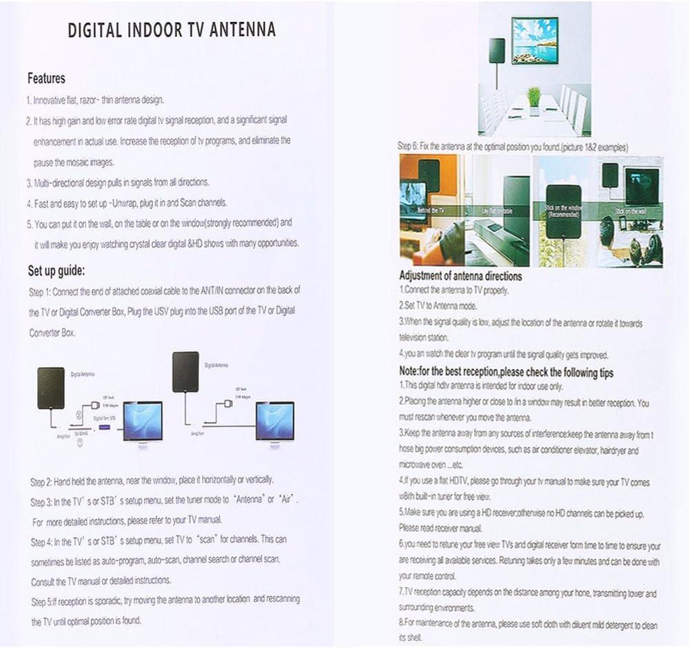 [Nueva versión 2018] Antena TV Interior, Yihongda Antena de TV de Rango Amplificado DE 95 km (60 Millas) Antena TDT con Amplificador de señal y 3M de ...