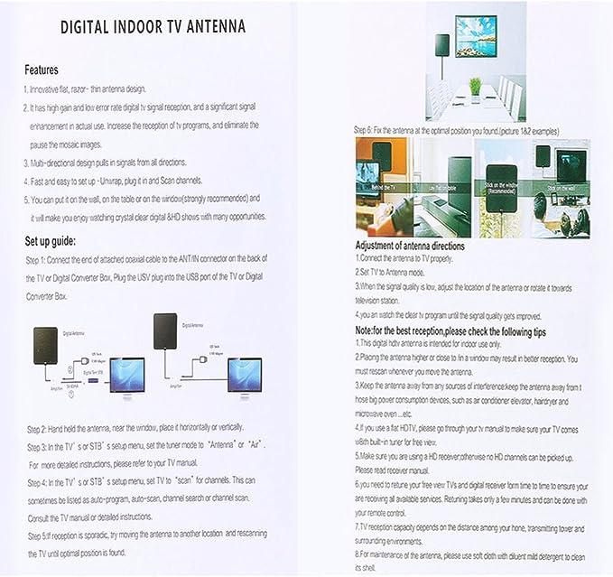 Antena TV,Antena de TV Digital Antena Interior HDTV de Rango Amplificado de 60 Millas con Desmontable Amplificador de Señal y Cable Coaxial de 13 pies (Black): Amazon.es: Electrónica