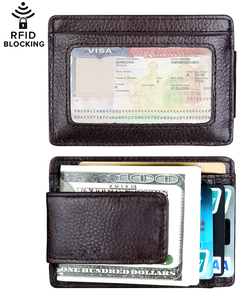 Money Clip, Leather Magnetic Front Pocket Slim Minimalist Wallet RFID Blocking (Crosshatch Black) QoeCycth