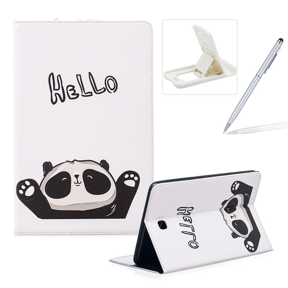 Wallet Leather Case for Samsung Galaxy Tab A 8.0 T350,Flip Kickstand Case for Samsung Galaxy Tab A 8.0 T350,Herzzer Stylish Pretty [Hello Panda Pattern] PU Leather Purse Folio Smart Stand Cover with Card Cash Slot Soft TPU Inner Case Protective Skin