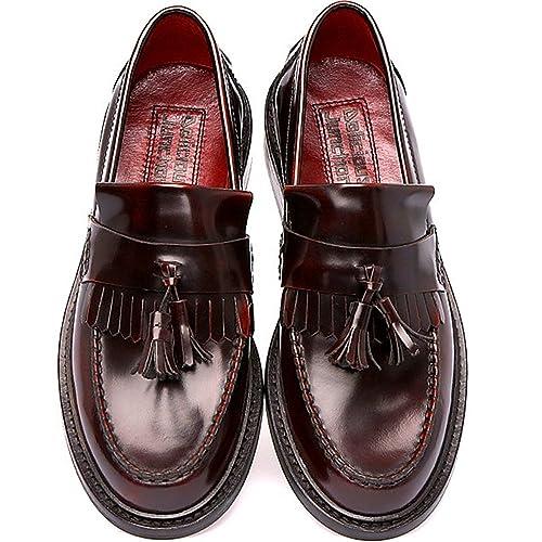 Delicious Junction - Mocasines de cuero para hombre rojo Oxblood: Amazon.es: Zapatos y complementos