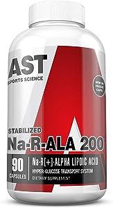 AST Sports Science Na-RALA 200 R[+]-Alpha Lipoic Acid Capsules 90 Capsules of Extra-Strength Stabilized Na-RALA