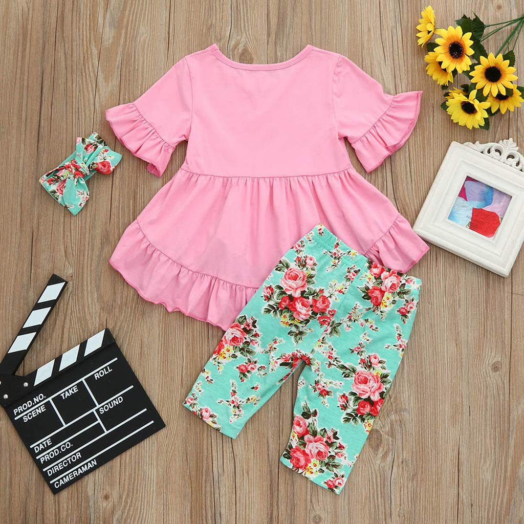 Kehen Kid Toddler Girl Summer Clothes Easter Outfit 3pc Short Sleeve Hi-Low Mini Dress Headband Leggings Pants