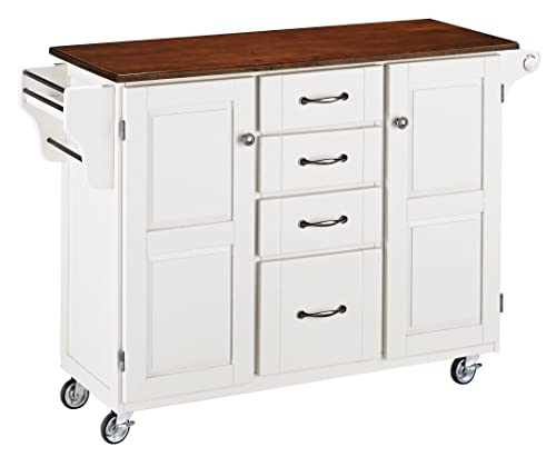 Create-a-Cart White 2 Door Cabinet Kitchen Cart with Cherry Top by Home Styles