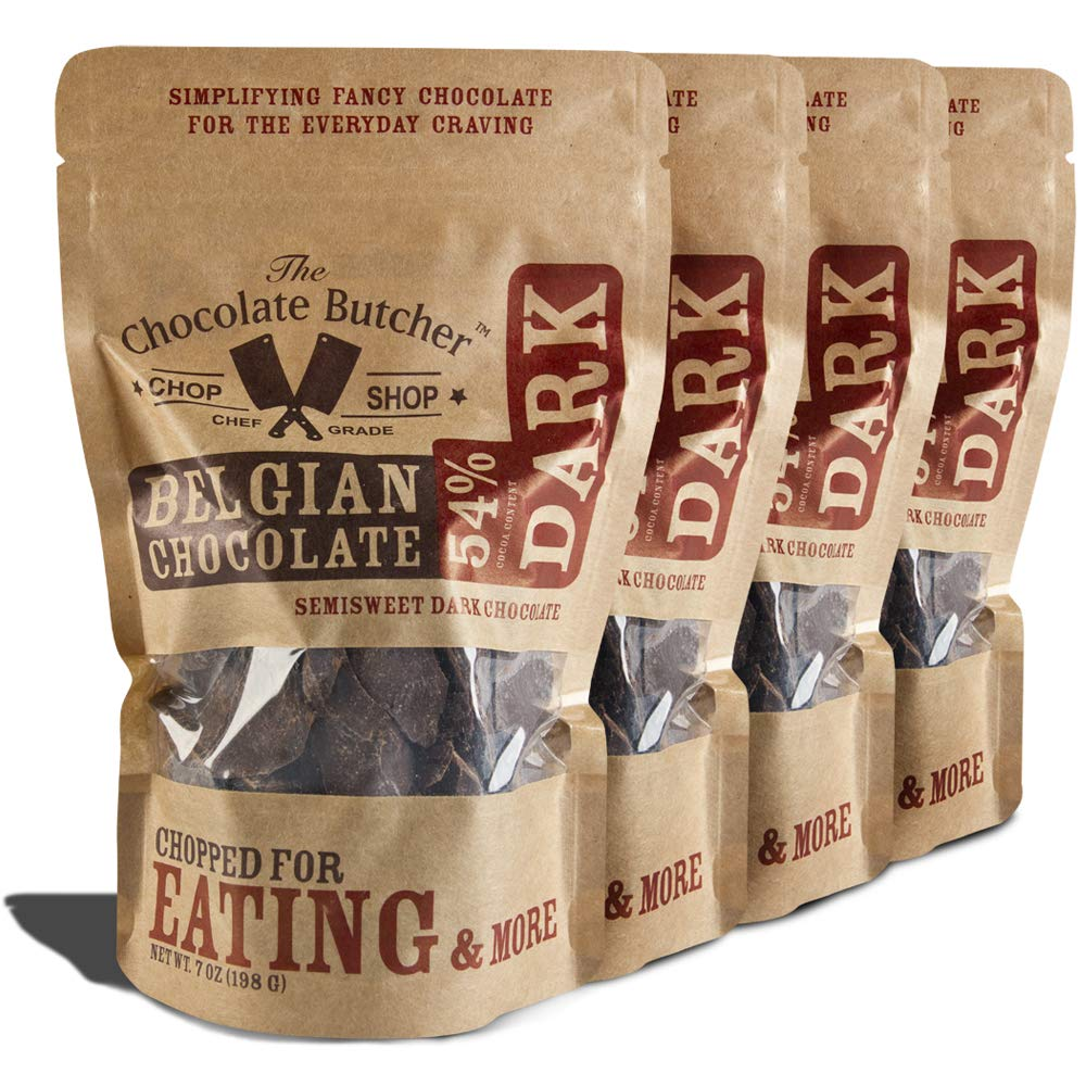 Dark Chocolate 54% Cocoa Content - Chopped for Snacking or Melting by The Chocolate Butcher
