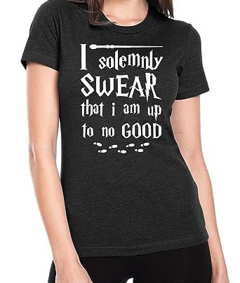 bf903e7b14ab Ilion Clothing Co Harry Potter Women's I Solemnly Swear T-Shirt (Small,  Black