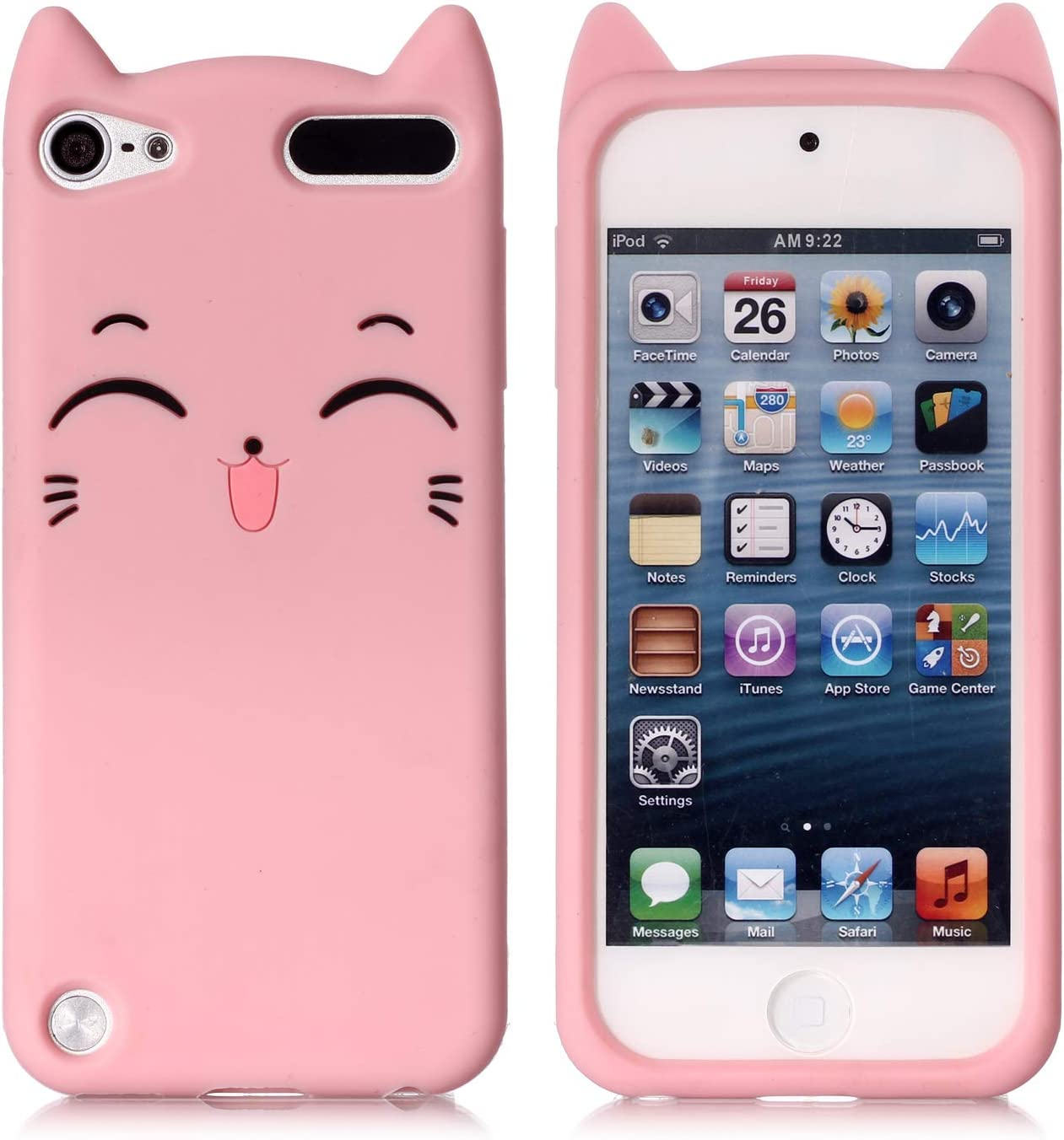 iPod Touch 7 Case, iPod Touch 5,6 Case, Fashion Cute 3D Pink Meow Party Cat Kitty Kids Girls Lady Protective Cases Soft Case Skin for Apple iPod Touch 5,6th and iPod Touch 7