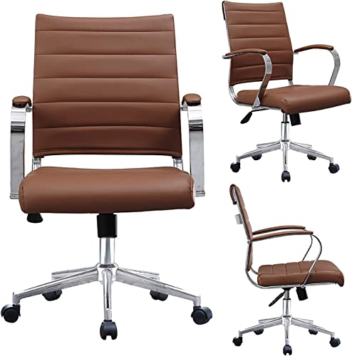 2xhome Brown Modern Mid Century Modern Contemporary Mid Back Ribbed PU Leather Swivel Tilt Adjustable Chair Executive Manager Office Conference Room Work Task Computer Ribbed Desk Chrome Wheels Arm