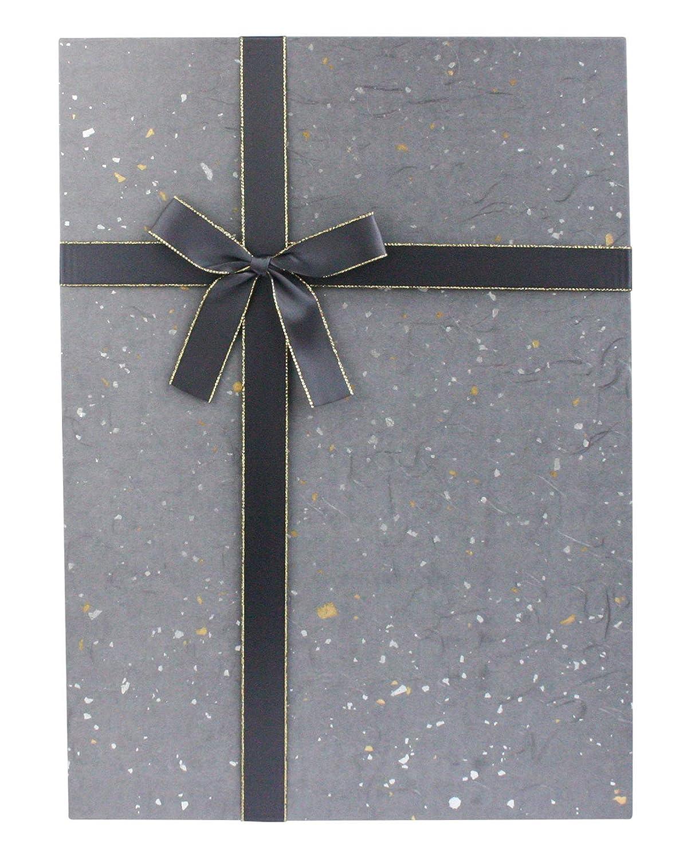 Scatola Nero Con Coperchio Macchiato Nero e Oro Argento Interni Color Cioccolato e Nastro di Raso Bordato Oro 35 cm x 25 cm x 15 cm Emartbuy Lusso Rigido Scatola Regalo a Forma di Rettangolo