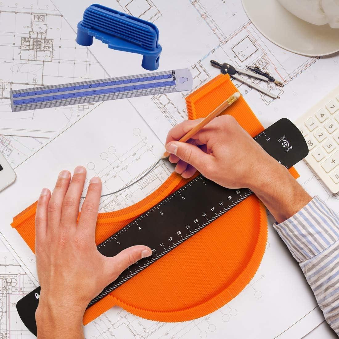 "6 Pieces Irregular Contour Line Woodworking Template ,Tile Contour Measuring Tools Contour Gauge Profiler Copier Tool With Lock10/"""