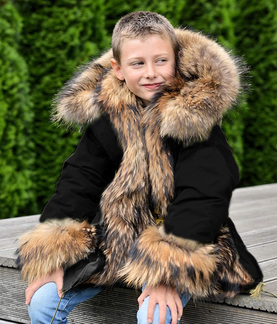 Aox Unisex Kids Casual Winter Faux Fur Hoodies Coat Warm Thicken Camo Parka Jacket Outdoor Trench Outwear for Girls Boys Aox 7889