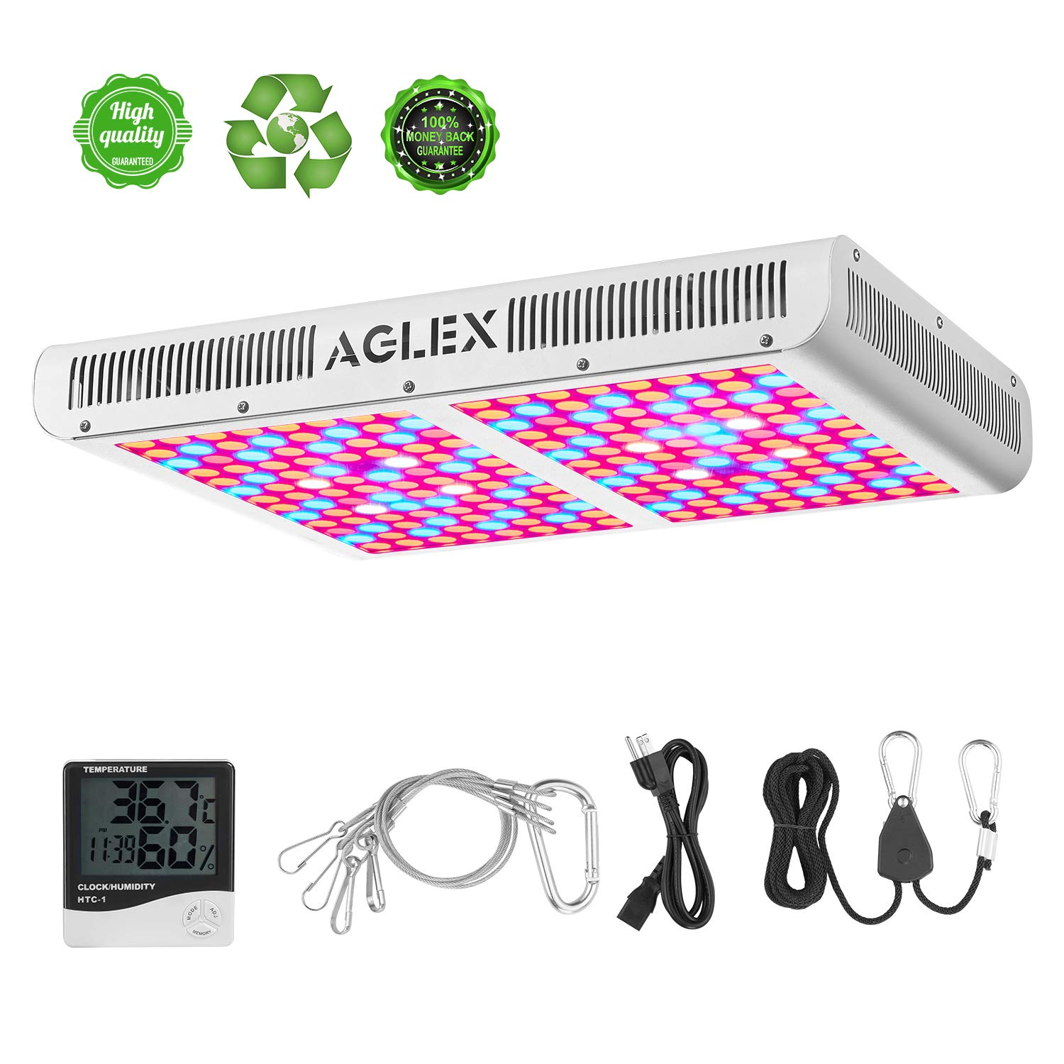 LED Plant Grow Light 2000W - Dual Switch Full Spectrum Reflector Series Growing Lamp with Daisy Chained Design for Hydroponic Greenhouse Indoor Plants Veg and Flower, White (Dual-Chip 10W LEDs) by AGLEX