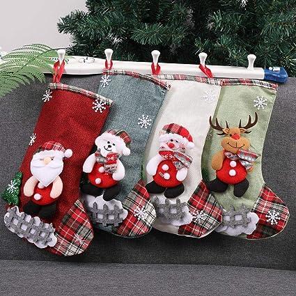 Mini calcetines de Navidad, juego de 4, pequeños calcetines de Navidad, bolsas de
