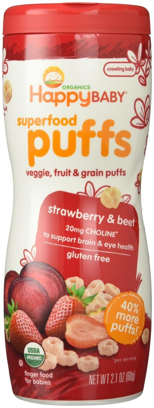 Happy Baby Organic Superfood Puffs Strawberry, 2.1 Ounce Canister Organic Baby or Toddler Snacks, Crunchy Fruit & Veggie Snack, Choline to Support Brain & Eye Health