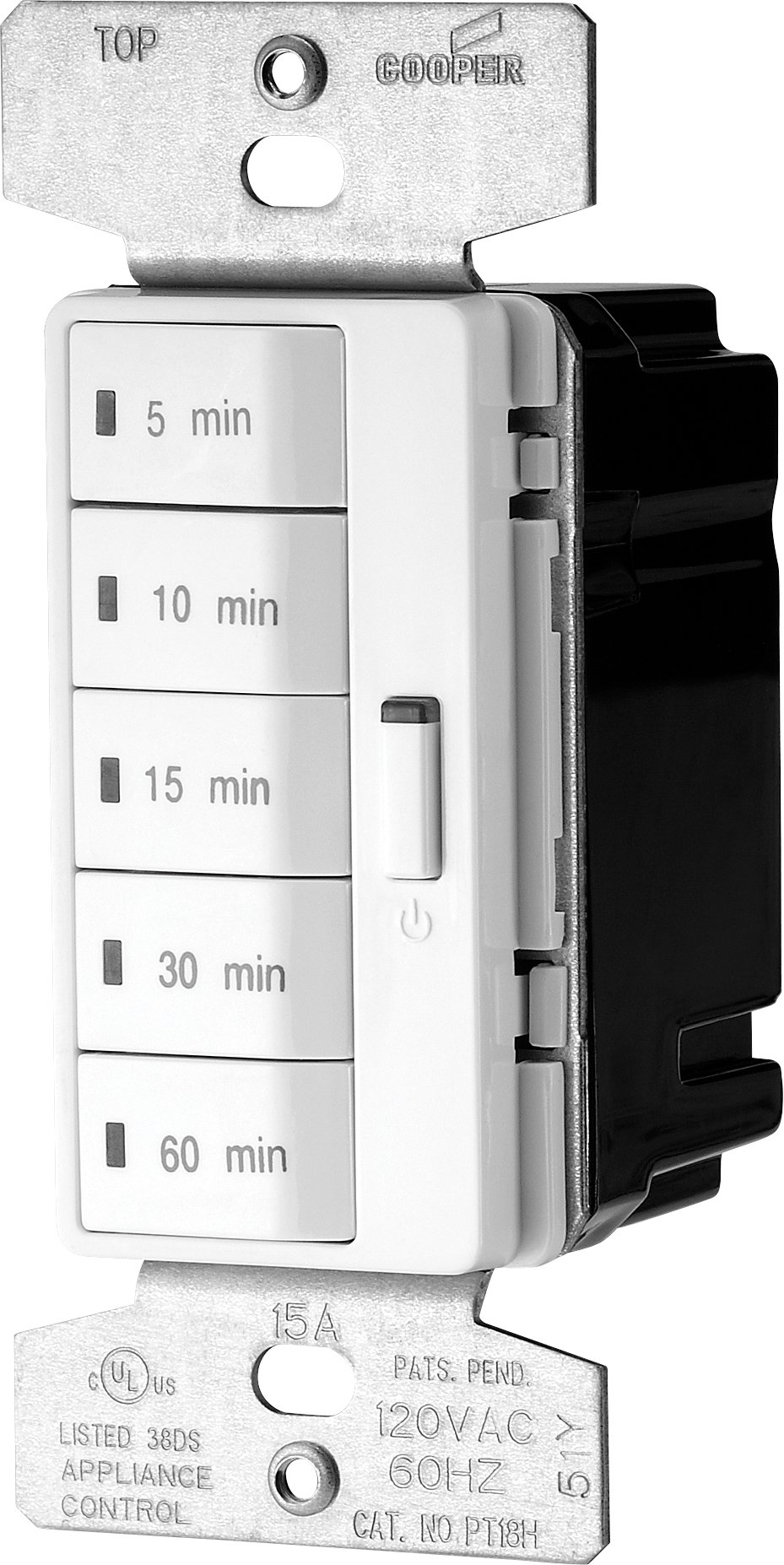 Eaton PT18M-W-K 1800-Watt 15-Amp 125-Volt 5-Button Minute Timer with Auto- Off, White