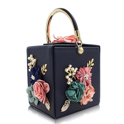 c8dfeda5e63d THE LONDON STORE Women s Black Flower Leather Clutch Bag (Black ...