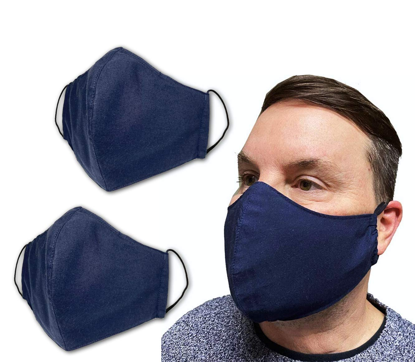 2PCS USA Cloth Face Mask, 100% Cotton Adult Face Mask, Double Layers with Filter Pocket and Nose Wire Bridge for a higher level of protection, Reusable & Machine Washable - Made in USA - Navy