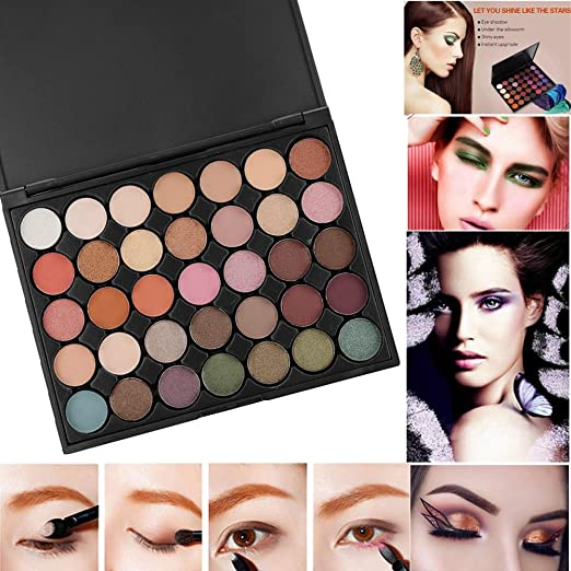 Amazon.com : Best Pro Eyeshadow Palette Makeup - Matte + Shimmer 35 Colors - High Pigmented - Professional Vegan Nudes Warm Natural Bronze Neutral Smokey ...