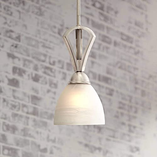 Milbury Satin Nickel Mini Pendant Light 6″ Wide Modern White Alabaster Glass Fixture