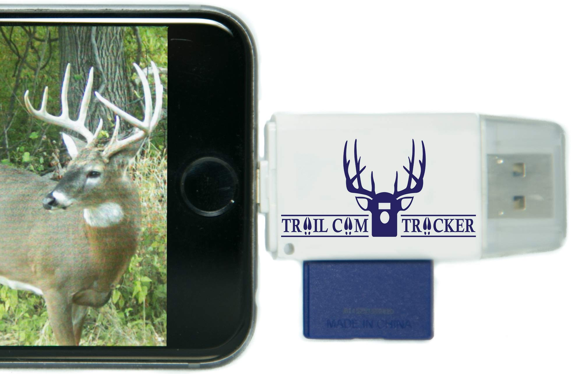 Trail Cam Tracker Trail Camera SD Card Reader for iPhone & Android - The Best & Fastest Game Camera SD Card Viewer - Smartphone Memory Card Reader - Free Case (iPhone (All-in-one Version)) by Trail Cam Tracker