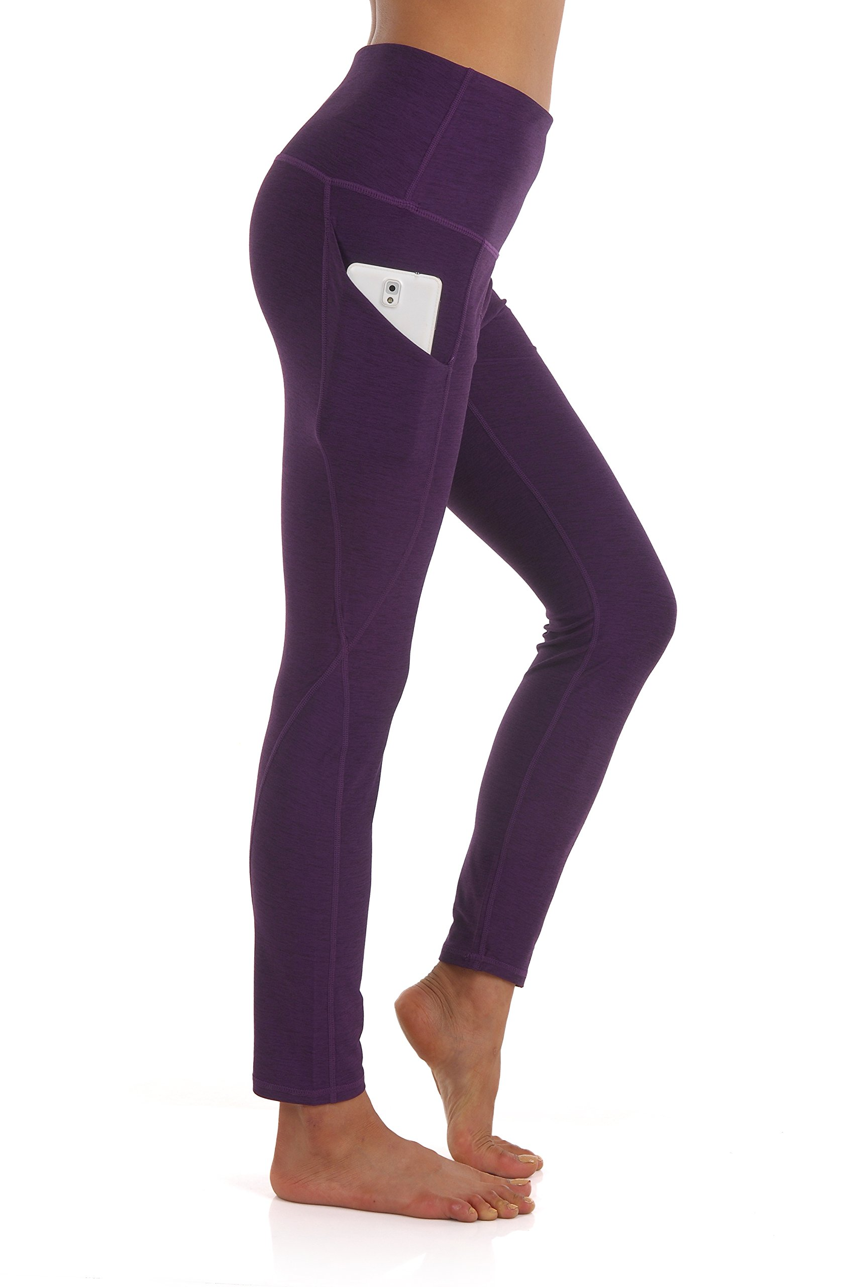 ZEROGSC Women's Yoga Pants - Workout Running Tummy Control Stretch Power Flex Long/Capris Leggings With Out Pockets (YPW111-DeepPurple-Large) by ZEROGSC