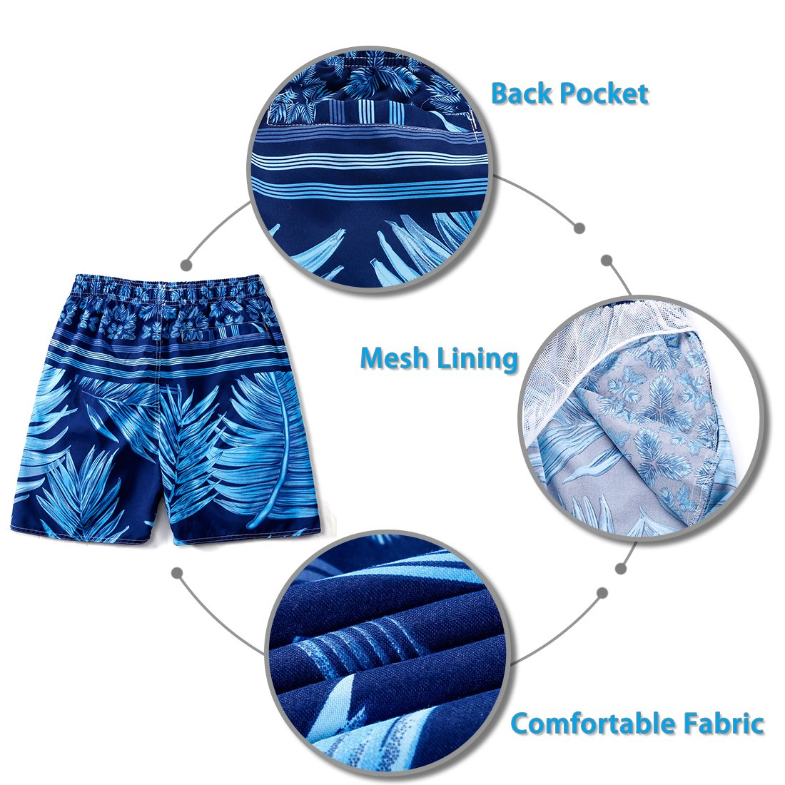 c8ab514506 ELETOP Men's Swim Trunks Quick Dry Board Shorts [Shorter Length] with Mesh  Lining and larger image