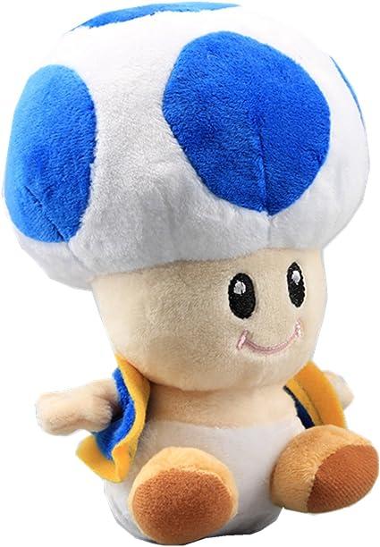 Amazon Com Uiuoutoy Super Mario Bros Blue Toad Plush Mushroom 7