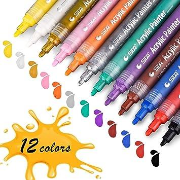 Acrylstifte Marker Stifte Sta Permanent Marker 12 Farben Mittlere