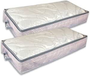 DII Breathable, Under The Bed or Closet Soft Storage Bag with Clear Viewing Window & Zipper Closure for Clothing, Linens, & Shoes (Chest Size - 40 x 18 x 6) Mauve - Set of 2