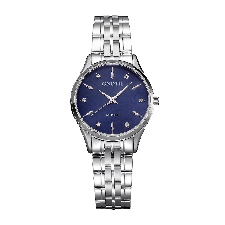 GNOTH minimalistische Navy Damen Uhr mit synthetischen Diamanten - echtem Saphirglas - blauem Zifferblatt