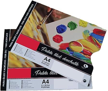 Lote 2 Paleta de Pintura Desechable/Paleta Block, (A4 21X29.7CM 60grs/ 36Hojas), Papel para Pintura Acrilico Óleo Lavable Impermeable (Pack 2 Paleta Block, A4/60grs): Amazon.es: Hogar