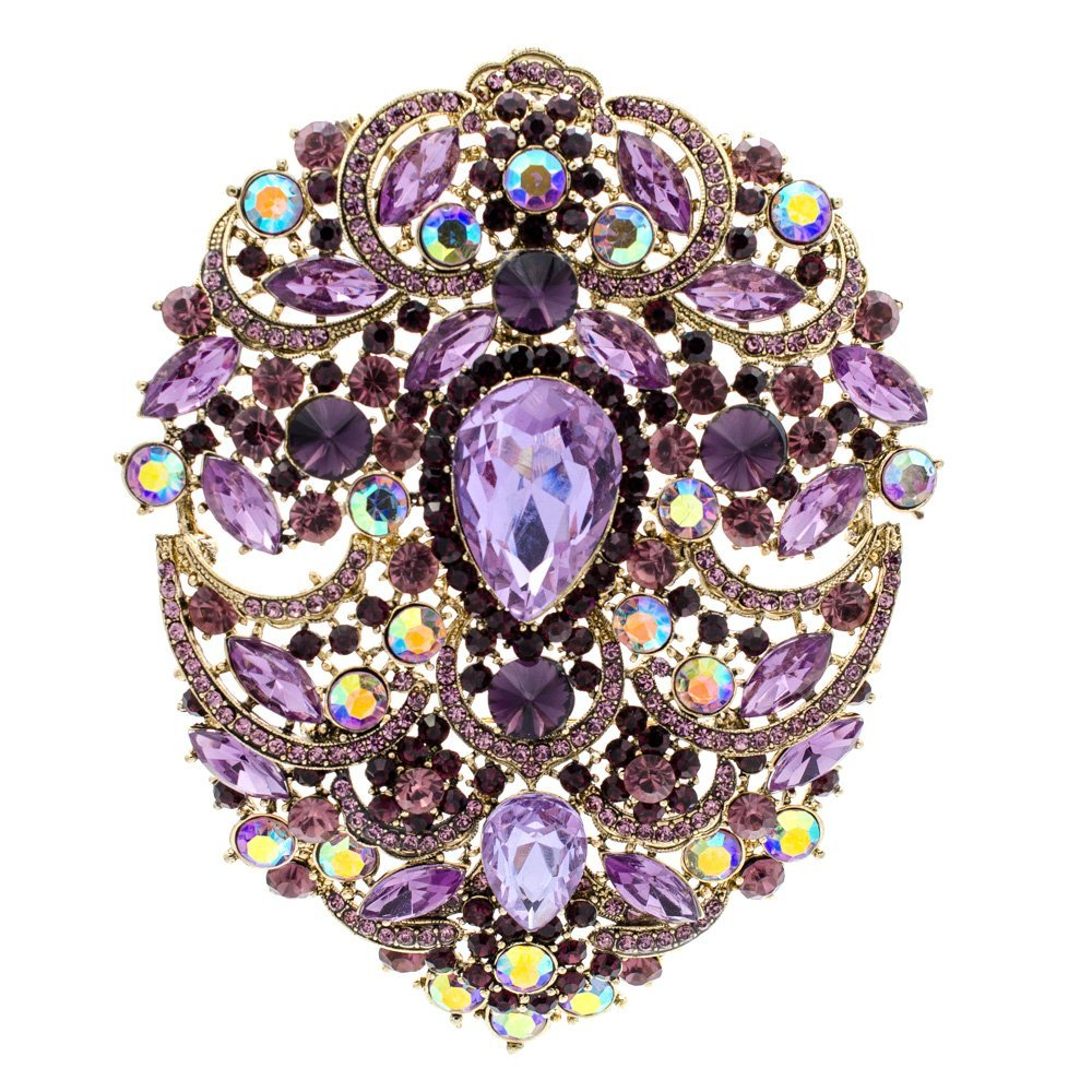 SEPBRIDALS SEP 4.9IN Rhinestone Crystals Large Egg Shape Brooch Broach Pins Women Jewelry Accessories 4045 (Purple)