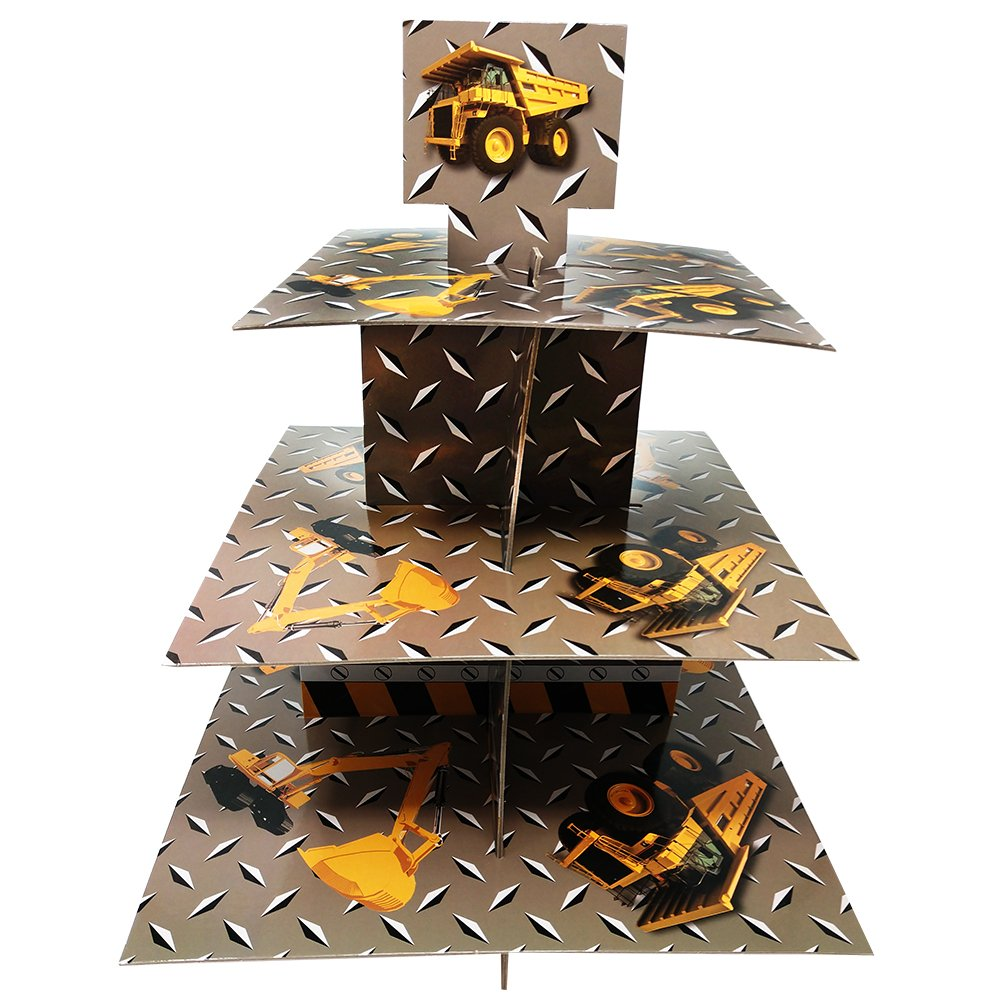 Construction Party Cupcake Stand & Pick Kit, Construction Party Supplies, Construction Party Decorations, Birthdays, Cake Decorations, Kids Birthdays, 3 Tier Cardboard