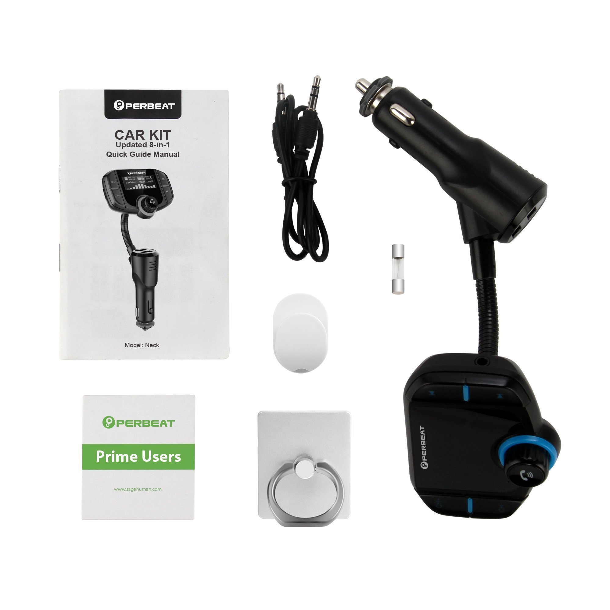 [New Version 2] Bluetooth FM Transmitter for Car, Perbeat Wireless Aux Adaptor Receiver Hands Free Car Kit 2.4A Fast Charger with 1.7Inch Larger Display, SD Reader, AUX In/Out for All 12-24V Cars. by Perbeat (Image #8)
