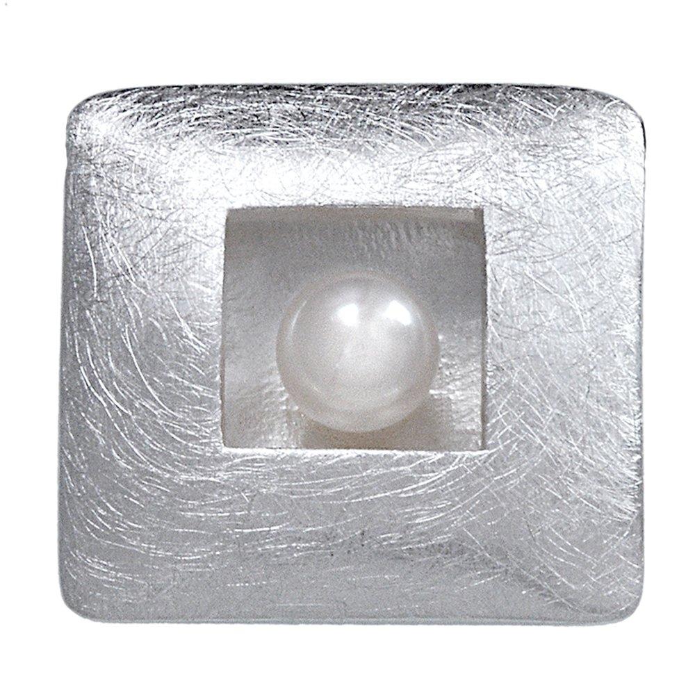 Vinani Anhänger Viereck gebürstet mit Perle Sterling Silber 925 AVP-EZ