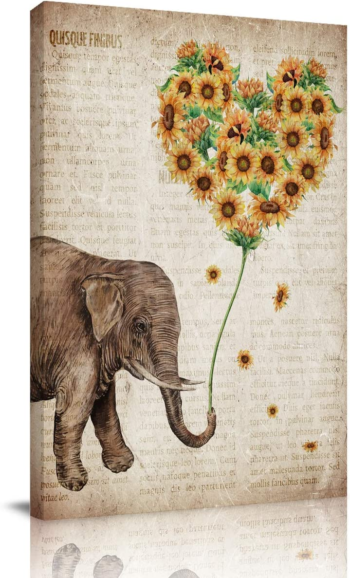 Big buy store Canvas Wall Art Picture Elephant Sunflowers Print On Canvas Giclee Artwork Vintage Newspaper Home Office Decorations Wall Decor Ready to Hang - 24x16 inches