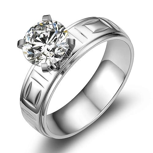 Jewelrywe Schmuck Breit 6mm Edelstahl Damen Ring Band Facettiert