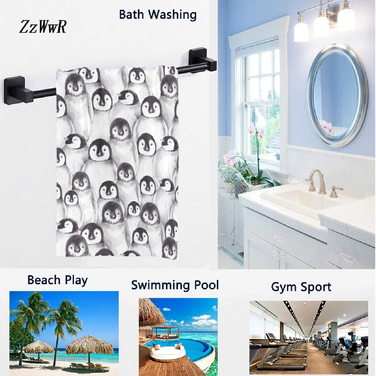 16 x 30 Inches,Black White Hotel Gym and Spa ZzWwR Cute Baby Penguins Sketch Pattern Soft Highly Absorbent Guest Large Home Decorative Hand Towels Multipurpose for Bathroom