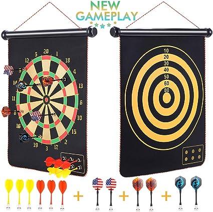 "Kids Magnetic Dart Board Dartboard Set 6 Darts Toy Party Game Safe Full Size 16/"""