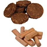 Desert Town Dried Cow Dung Cake Puja and HawanSet - Set of 22 (Brown, 2x2 Inches)