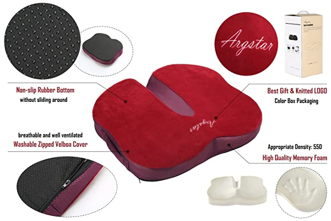 Amazon.com: Argstar Ergonomic Memory Foam Seat Cushion 3D Breathable for Office Chair Pad Purple: Kitchen & Dining