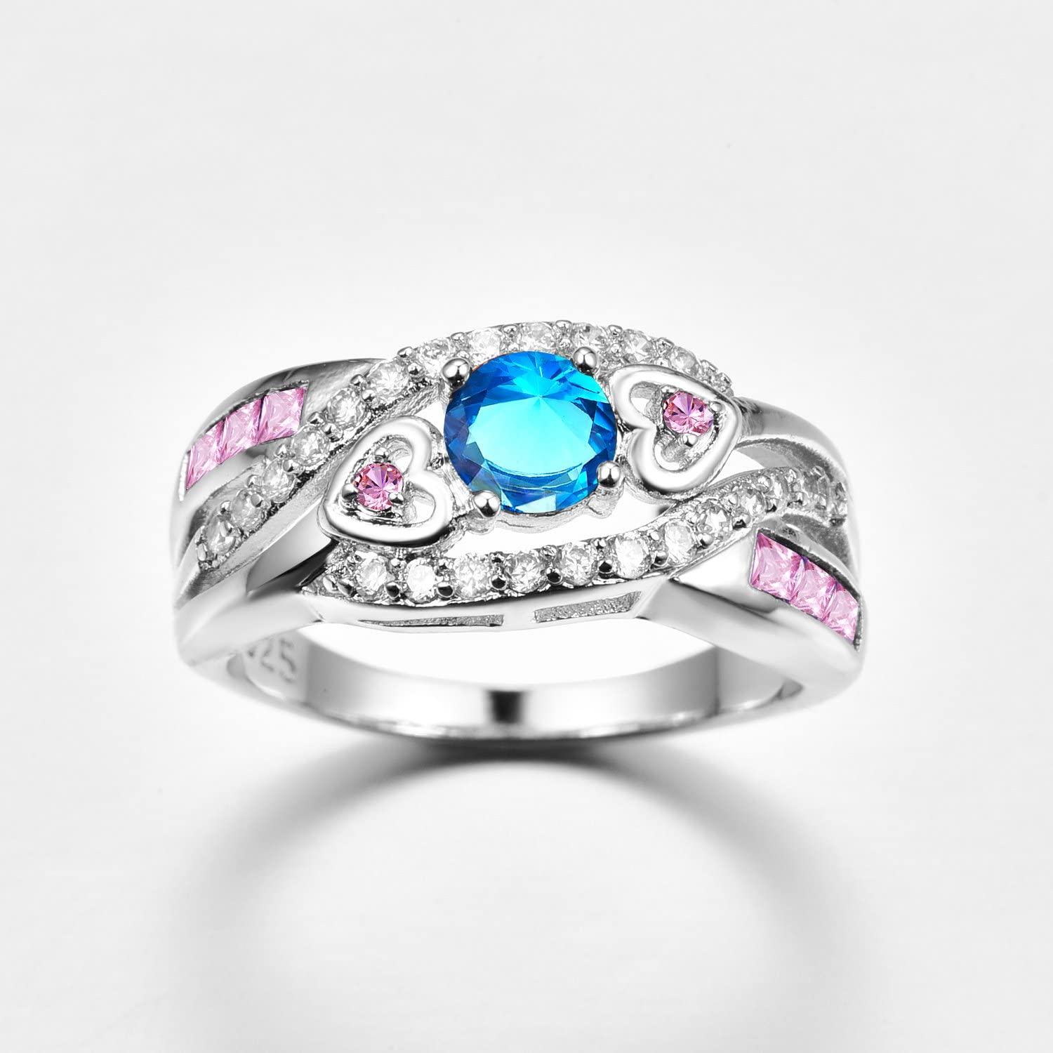 Veunora 925 Sterling Silver Created 5x5mm Rainbow Topaz and Amethyst Filled Twisted Ring Band for Women Size 8