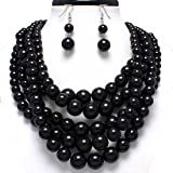 Statement Beaded Layered Strands Jet Black Simulated-Pearl Beads Silver Chain Necklace Earrings Set Gift