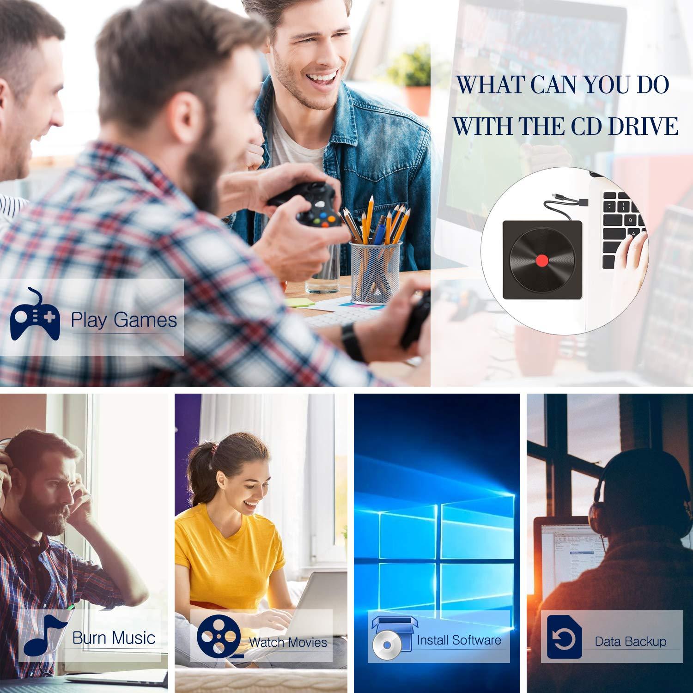 Grabadora CD/DVD Externa, USB 3.0 Tipo C de Doble Puerto, Unidades de CD Externas Alta Velocidad, Lector/Quemador/Re - AMIGIK Quemador de CD/DVD +/-RW/ROM para PC portátil Windows, Linux, MacOS, Vista